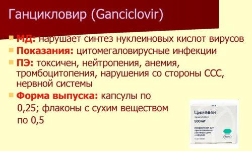 Лечение цитомегаловирусной инфекции назначается при явных проявлениях заболевания